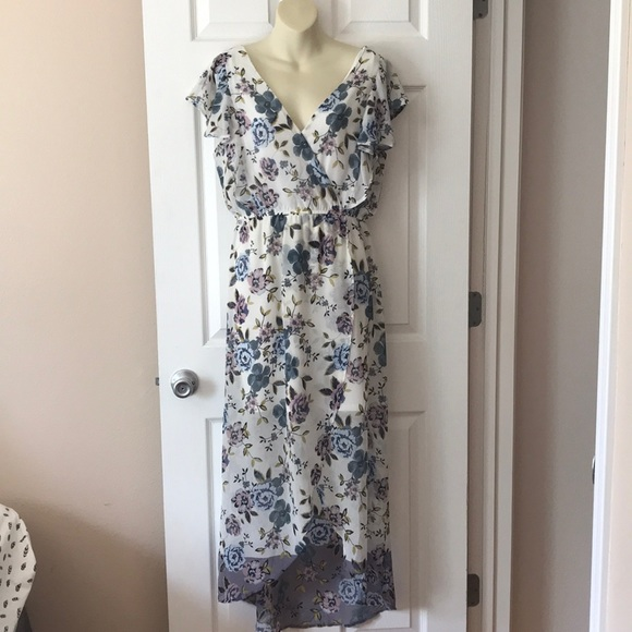 Maurices Dresses & Skirts - Long floral high low faux wrap dress.